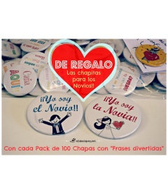 "PACK 100 CHAPAS BODA 59mm ""FRASES DIVERTIDAS"""
