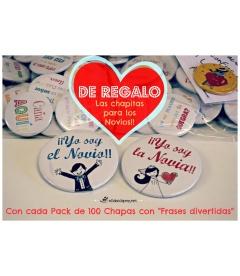 SÚPER PACK 100 CHAPAS PARA BODAS 38MM + CAJA DE REGALO