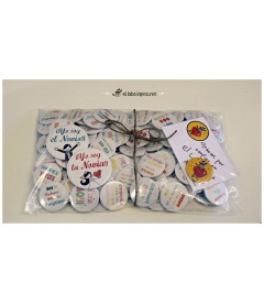 "PACK 100 CHAPAS BODA 38mm ""FRASES DIVERTIDAS"""