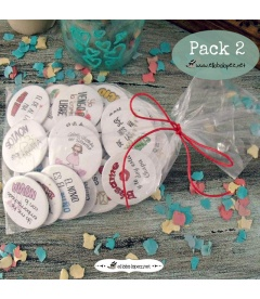 "PACKS 35 CHAPAS PARA BODAS 59mm ""FRASES CON DIBUJOS DIVERTIDOS"""
