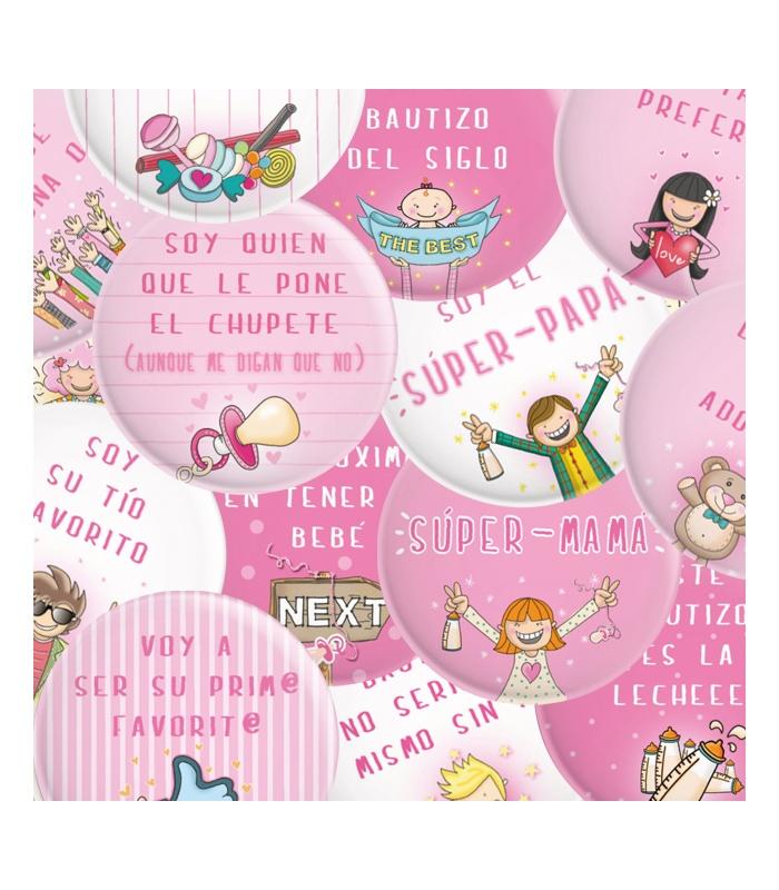 Pack 20 Chapas Bautizo Niña Con Frases Y Dibujitos Divertidos