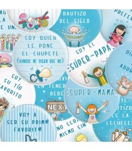 PACK 20 CHAPAS BAUTIZO NIÑO CON FRASES Y DIBUJITOS DIVERTIDOS