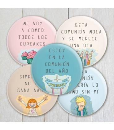 PACK 20 CHAPAS COMUNIÓN CON FRASES Y DIBUJITOS DIVERTIDOS
