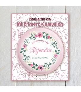 """CHAPA PERSONALIZADA """"FLORES COMUNIÓN"""""""