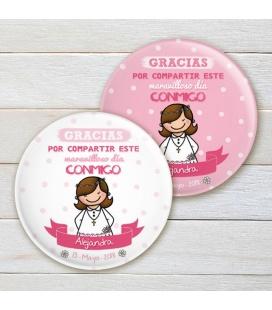 """CHAPA """"COMUNIÓN CHICA"""" (rosa y blanco)"""