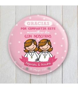 """CHAPA """"COMUNIÓN GEMELAS"""" (rosa y blanco)"""