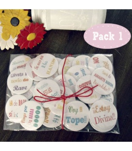 "PACKS 25 CHAPAS PARA BODAS 59mm ""FRASES DIVERTIDAS"""