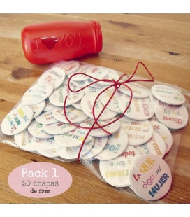 "PACK 50 CHAPAS PARA BODAS 59mm ""FRASES DIVERTIDAS 1"""
