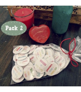 "PACK 50 CHAPAS PARA BODAS 38mm ""FRASES DIVERTIDAS 2"""