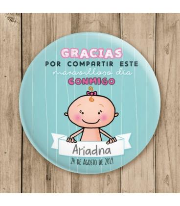 """CHAPA BAUTIZO """" GRACIAS"""" niña"""