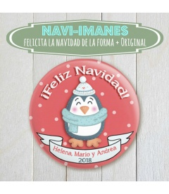 NAVI-IMÁN (chapa navidad de Pinguino)