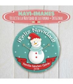 NAVI-IMÁN (chapa navidad de Muñeco de Nieve)