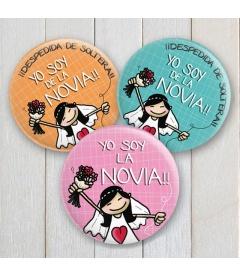 """CHAPAS DESPEDIDAS """"YO SOY DE LA NOVIA"""""""