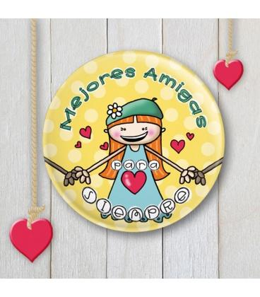 """CHAPA """"MEJORES AMIGAS"""" (amarillo)"""