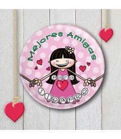 """CHAPA """"MEJORES AMIGAS"""" (rosa)"""
