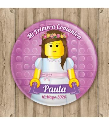 """CHAPA """"COMUNIÓN LEGO"""" (niña)"""