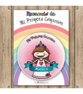 """CHAPA COMUNIÓN """"NIÑA UNICORNIO"""" (pelo liso)"""