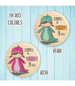 "CHAPA CUMPLEAÑOS ""DINOSAURIO"" (niña)"
