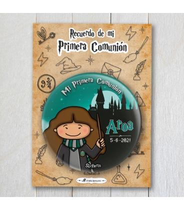 """CHAPA COMUNIÓN """"SLYTHERIN"""" Harry Potter (niña)"""