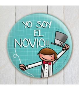"""CHAPA BODA """"YO SOY EL NOVIO""""(colores)"""