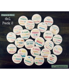 "PACKS 25 CHAPAS BODA ""FRASES DIVERTIDAS""  38mm"