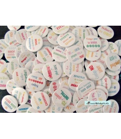 "PACK 100 CHAPAS BODA ""FRASES DIVERTIDAS"" 38mm"