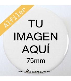 CHAPA PERSONALIZADA CON ALFILER DE 75mm